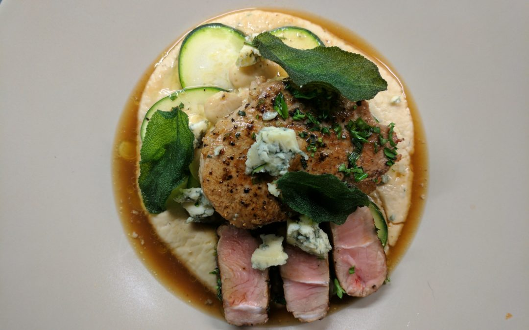 Veal Chop with Butterbean Puree, Blue Cheese and Crispy Sage