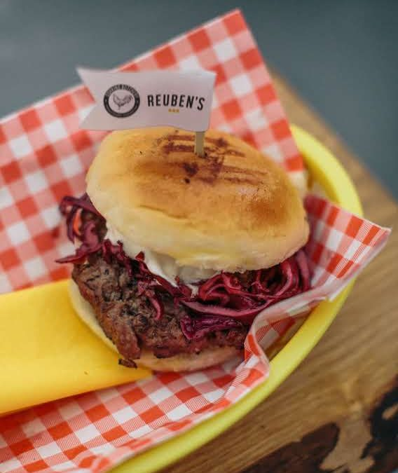 Venison Burger with Mulled Red Cabbage Slaw & Blue Cheese Sauce