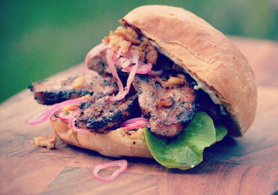 Fennel, Chilli and Orange Pork Belly Buns with Roast Garlic Mayo, Pink Pickled Onions and Scratchings by The Salt Box